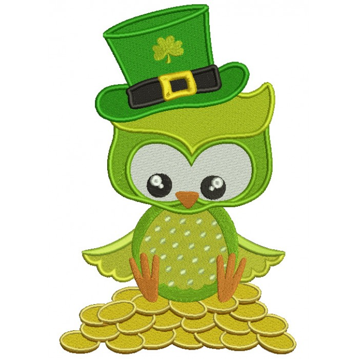 St Patrick's Day Owl Sitting on Gold Coins Irish Filled Machine Embroidery Design Digitized Pattern