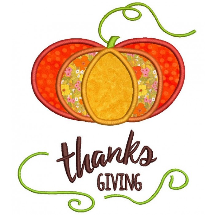 Thanks Giving Pumpkin Applique Machine Embroidery Design Digitized Pattern