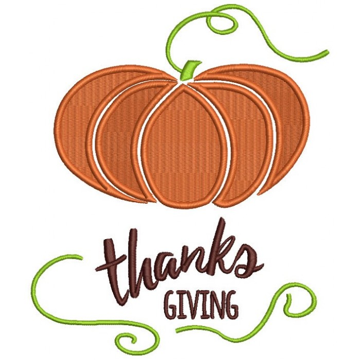 Thanks Giving Pumpkin Filled Machine Embroidery Design Digitized Pattern