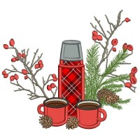 Thermos And Coffee Christmas Applique Machine Embroidery Design Digitized Pattern