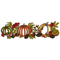 Three Pumpkins Acorns and Leaves Fall Applique Thanksgiving Machine Embroidery Design Digitized Pattern