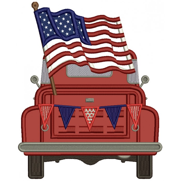 Truck With American Flag Patriotic Applique Machine Embroidery Design Digitized Pattern