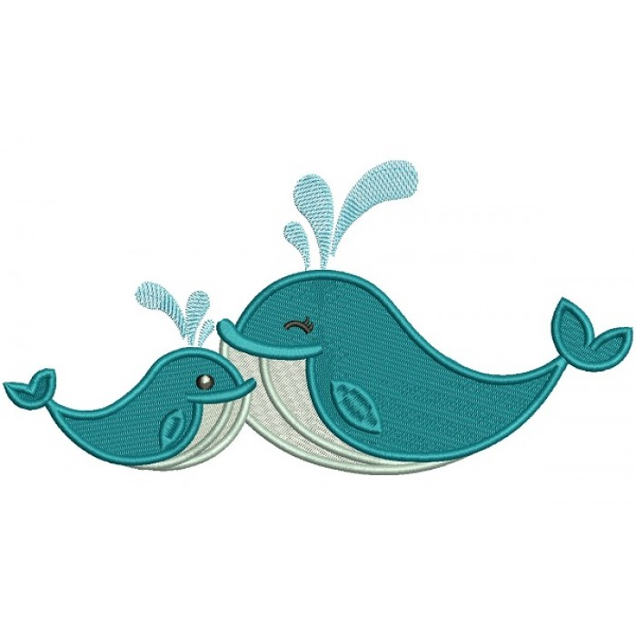 Two Whales Filled Machine Embroidery Design Digitized Pattern