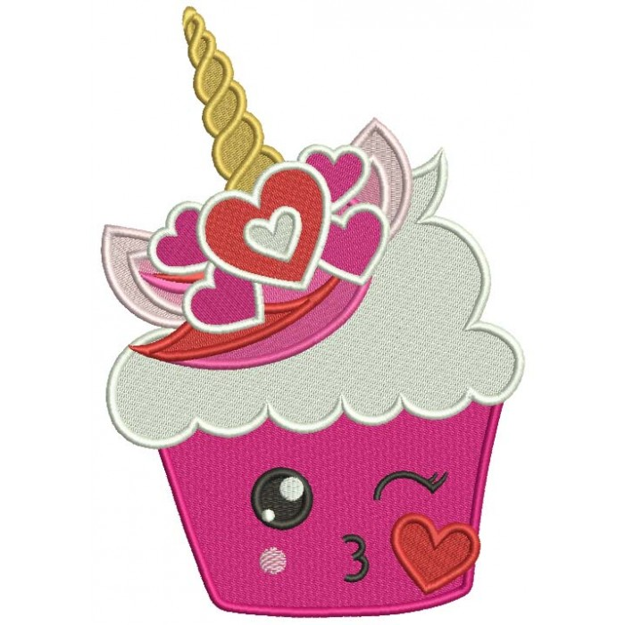 Unicorn Cupcake With Hearts Valentine's Day Filled Machine Embroidery Design Digitized Pattern