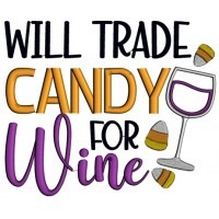 Will Trade Candy For Wine Halloween Applique Machine Embroidery Design Digitized Pattern