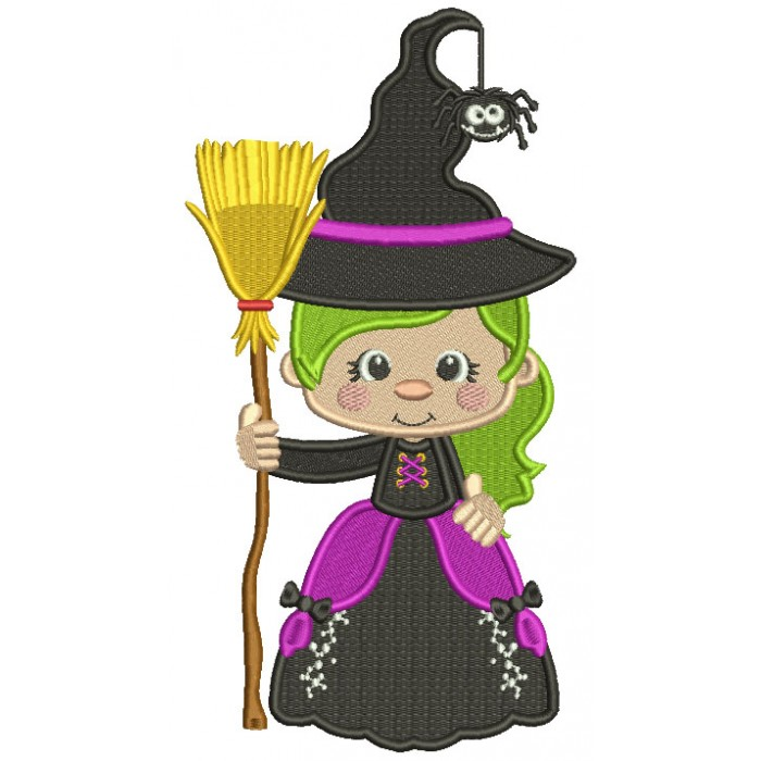 Witch Holding a Broom With a Spider On Her Hat Halloween Filled Machine Embroidery Design Digitized Pattern