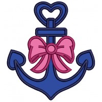 Anchor With a Beautiful Bow Applique Machine Embroidery Design Digitized Pattern
