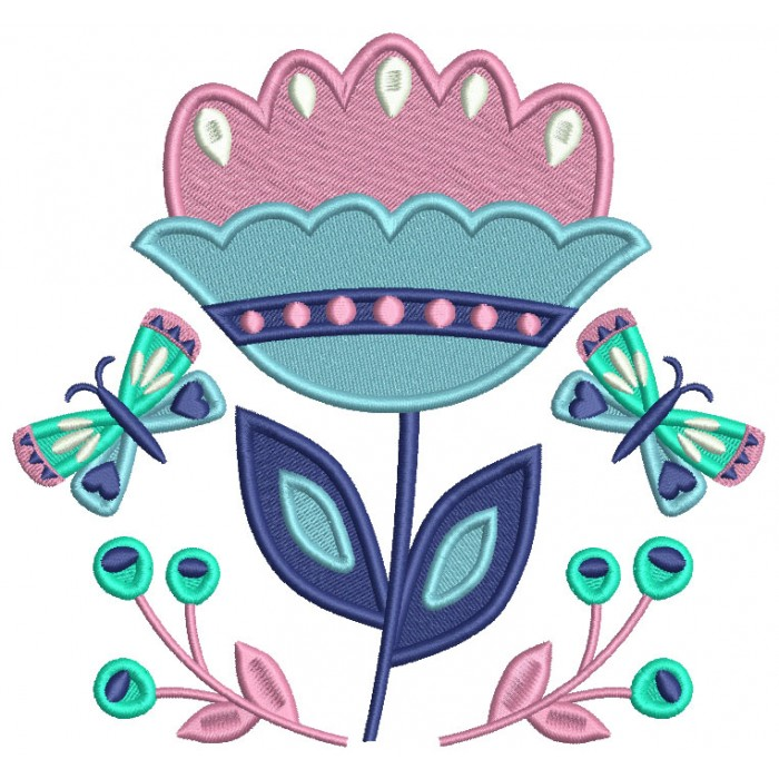 Big Flower And Butterflies Filled Machine Embroidery Design Digitized Pattern