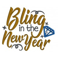 Bling In The New Year Applique Machine Embroidery Design Digitized Pattern