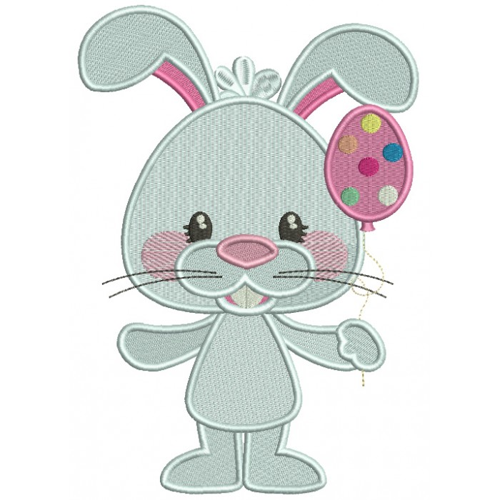 Bunny Holding Easter Egg Balloon Filled Machine Embroidery Design Digitized Pattern