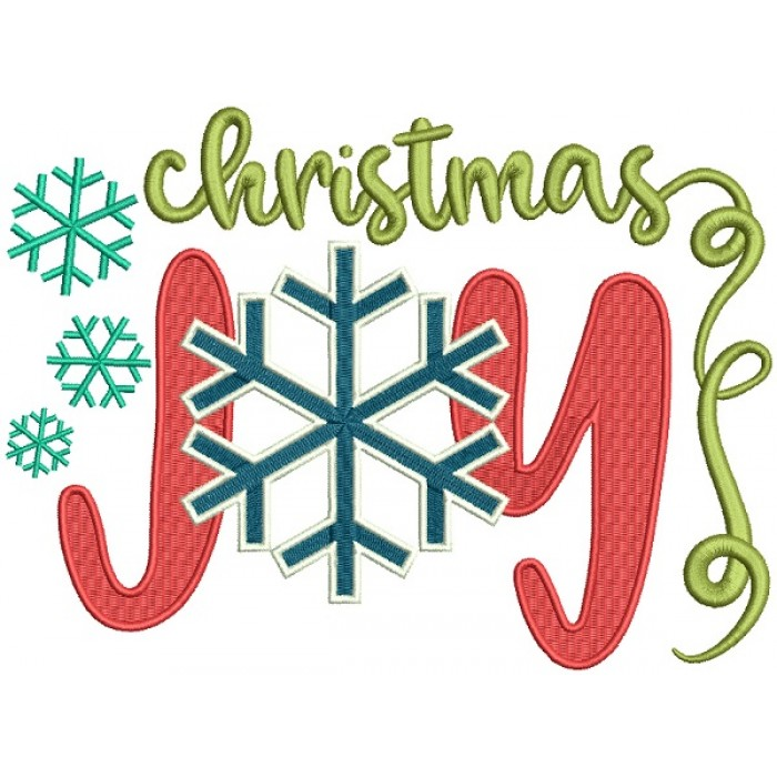 Christmas Joy With Snowflake Filled Machine Embroidery Design Digitized Pattern