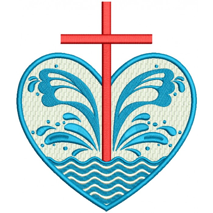 Cross Inside Heart With Waves Filled Machine Embroidery Design Digitized Pattern