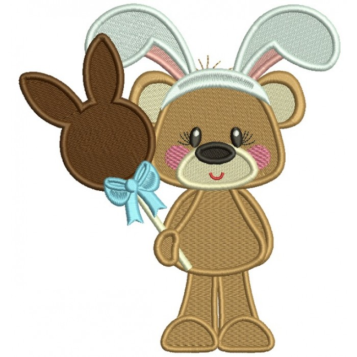 Cute Bear Holdig Chocolate Easter Bunny Filled Machine Embroidery Design Digitized
