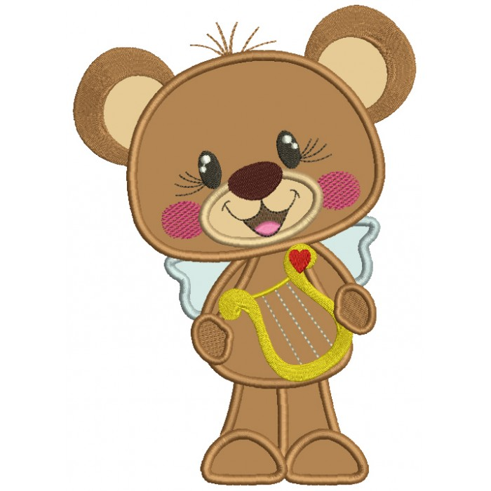 Cute Bear Holding a Musical Instrument Applique Machine Embroidery Design Digitized Pattern