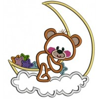 Cute Bear Sitting On The Moon Applique Machine Embroidery Design Digitized