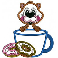 Cute Beaver Eating Donuts Applique Machine Embroidery Design Digitized Pattern
