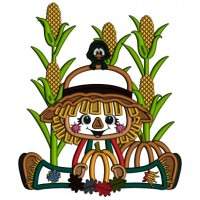 Cute Boy Sitting In The Cornfield Holding Pumpkin Thanksgiving Applique Machine Embroidery Design Digitized Pattern