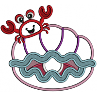 Cute Crab Sitting On The Shell With a Pearl Applique Machine Embroidery Design Digitized Pattern