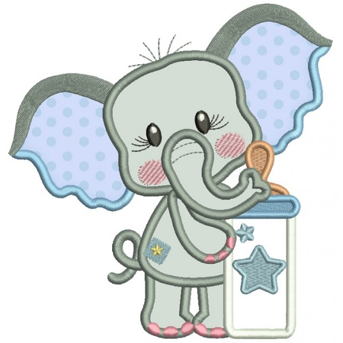Cute Elephant With Baby Bottle Applique Machine Embroidery Design Digitized Pattern