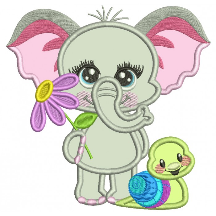 Cute Elephant With a Little Snail Applique Machine Embroidery Design Digitized Pattern