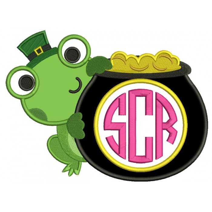Cute Frog With a Pot Of Gold Monogram Irish St Patrick's Day Applique Machine Embroidery Design Digitized Pattern