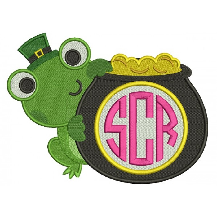 Cute Frog With a Pot Of Gold Monogram Irish St Patrick's Day Filled Machine Embroidery Design Digitized Pattern