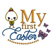Cute Girl Chick My First Easter Applique Machine Embroidery Design Digitized Pattern