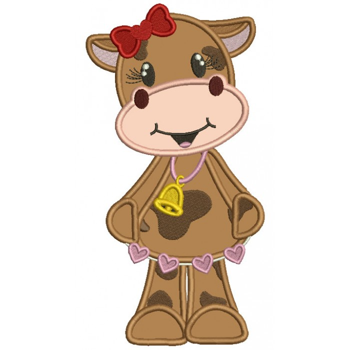 Cute Girl Cow With a Bell And Hearts Applique Machine Embroidery Design Digitized Pattern