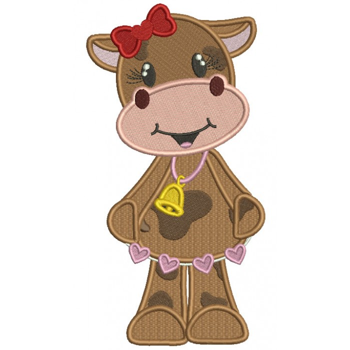 Cute Girl Cow With a Bell And Hearts Filled Machine Embroidery Design Digitized Pattern