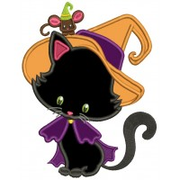 Cute Halloween Black Cat Wizard With a Big Hat and a Mouse Applique Machine Embroidery Design Digitized Pattern