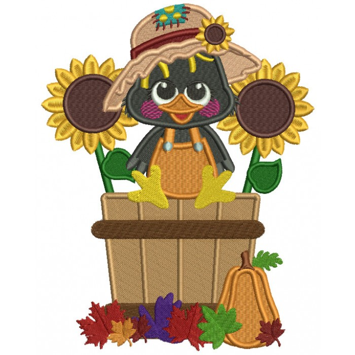 Cute Little Crow Sitting Inside Sitting Inside a Basket With Sunflowers Fall Filled Thanksgiving Machine Embroidery Design Digitized Pattern