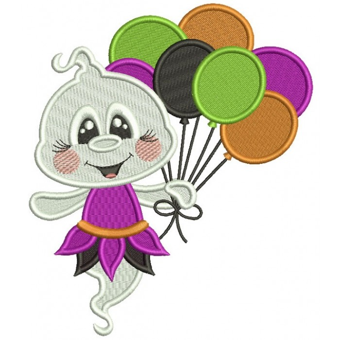 Cute Little Ghost Holding Balloons Halloween Filled Machine Embroidery Design Digitized Pattern