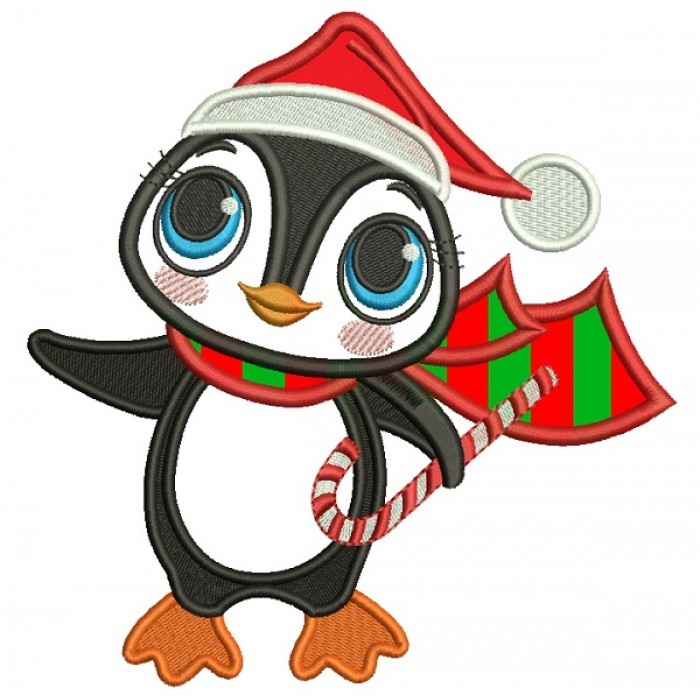 cute little penguin wearing santa hat and holding candy cane christmas applique machine embroidery design digitized pattern - Candy Cane Christmas