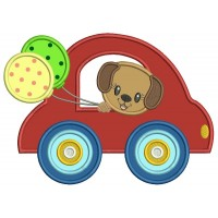 Cute Little Puppy Riding In Car Holding Balloons Applique Machine Embroidery Design Digitized Pattern