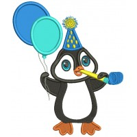 Cute Penguin Holding Birthday Balloons Applique Machine Embroidery Design Digitized Pattern