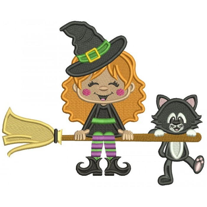 Cute Witch and a Cat Flying a Broom Halloween Filled Machine Embroidery Design Digitized Pattern