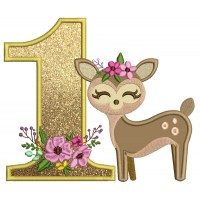 First Birthday Girl Baby Deer Applique Machine Embroidery Design Digitized Pattern