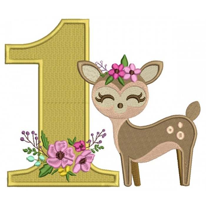 First Birthday Fawn Girl Baby Deer Filled Machine Embroidery Design Digitized Pattern