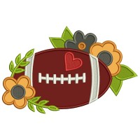 Football With Flowers Applique Machine Embroidery Design Digitized Pattern