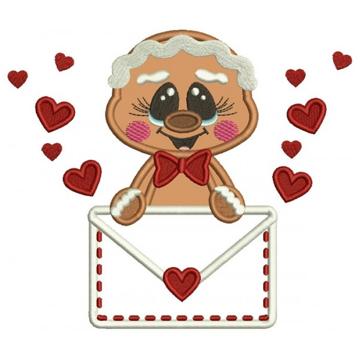 Gingerbread Man Holding Letter With Hearts Applique Machine Embroidery Design Digitized Pattern
