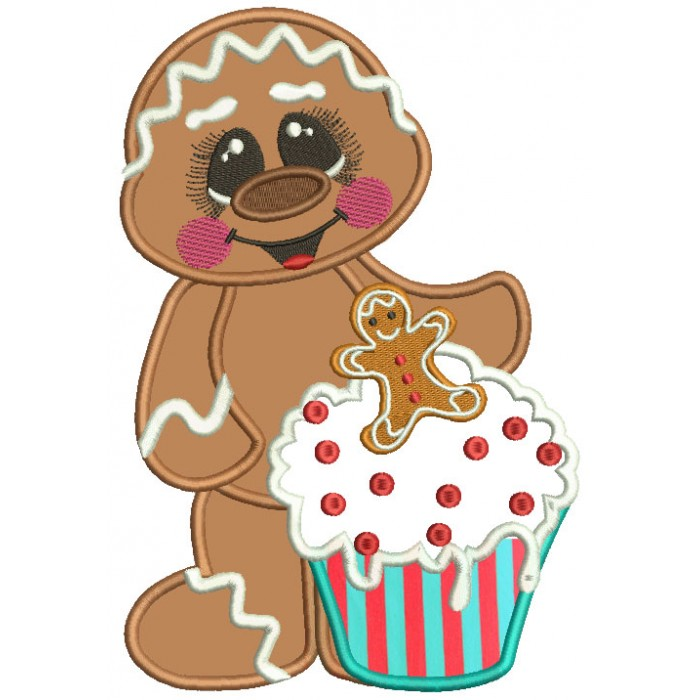 Gingerbread Man Holding a Cupcake Christmas Applique Machine Embroidery Design Digitized Pattern