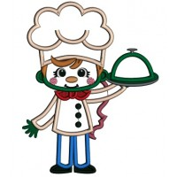 Girl Cook With a Red Bow Applique Machine Embroidery Design Digitized Pattern