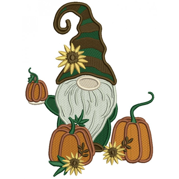 Gnome Holding Halloween Pumpkin With Flowers Filled Machine Embroidery Design Digitized Pattern