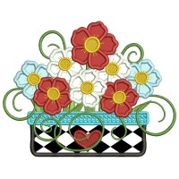 Gorgeous Flower Bouquet Applique Machine Embroidery Design Digitized Pattern