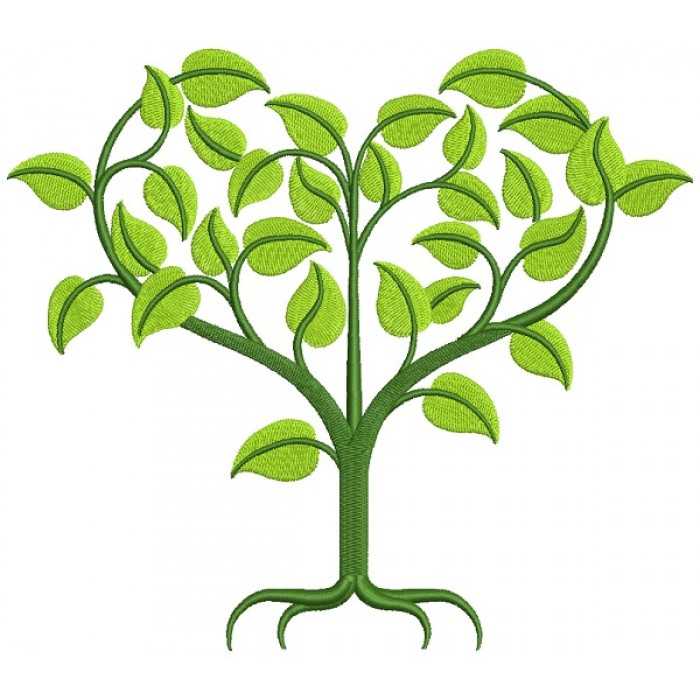 Green Heart Shaped Tree Filled Machine Embroidery Design Digitized Pattern