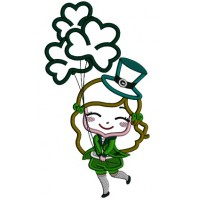 Happy Girl With Shamrock Balloons St. Patrick's Day Applique Machine Embroidery Design Digitized Pattern