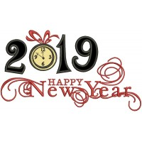 Happy New Year 2019 Applique Machine Embroidery Design Digitized Pattern