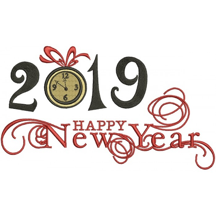Happy New Year 2019 Filled Machine Embroidery Design Digitized Pattern
