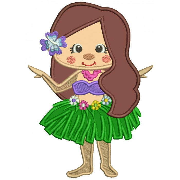 Hawaiian Girl With Pretty Flower Applique Machine Embroidery Design Digitized Pattern