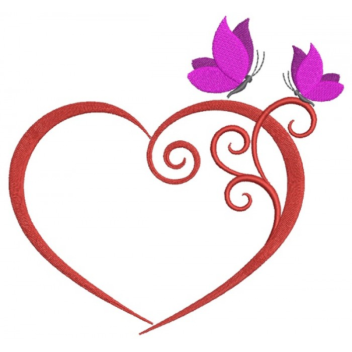 Heart With Butterflies Filled Machine Embroidery Design Digitized Pattern